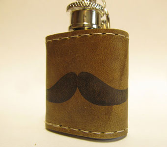 Leather Handprinted Flask