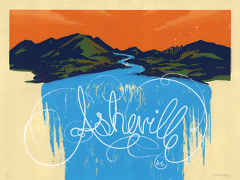 Asheville, N.C., limited edition screen print poster